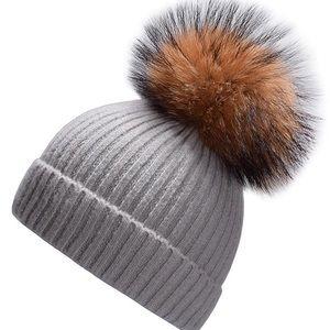 Real Fur Pom Beanie NWOT